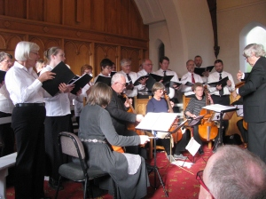 the choir and viols performing in Hampden, with Roger Buckton conducting (click to enlarge)